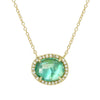 Apatite Pearl Doublet Necklace With Diamonds in 14K Yellow Gold