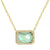 Atiena lab-created rectangle gemstone necklace in paraiba green and gold