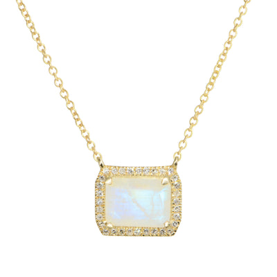 Atiena Rainbow Moonstone Necklace With Diamonds in 14K Gold