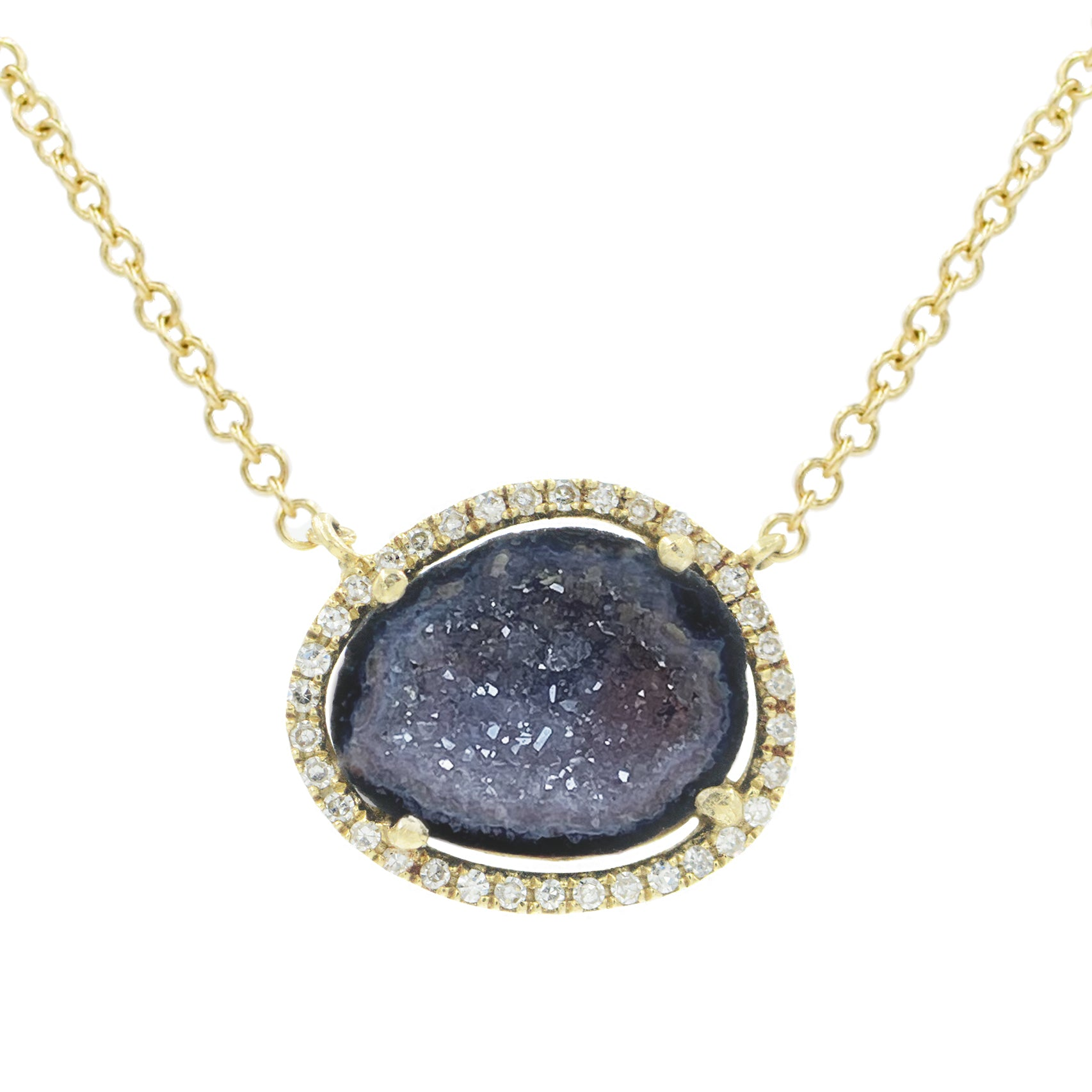 Baby Geode Halo Necklace With Diamonds in 14k Gold