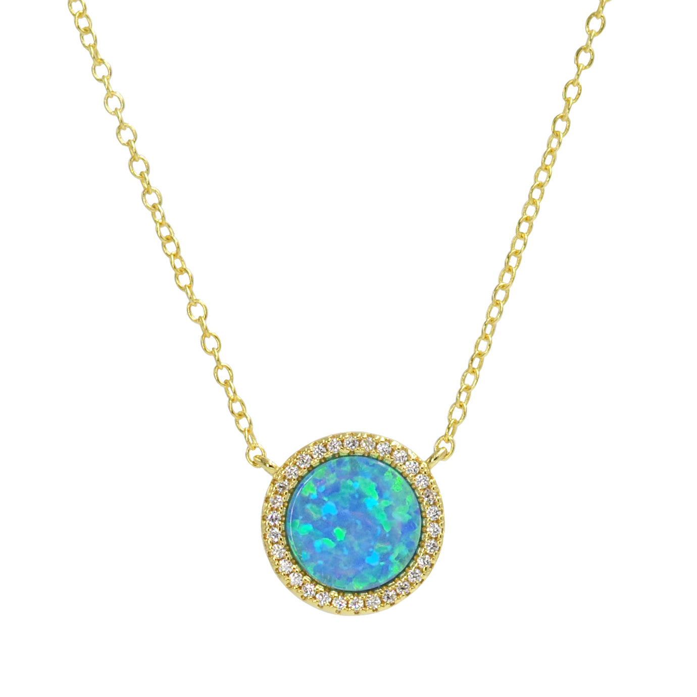 Beacon opal circle necklace with crystals in blue opal and gold