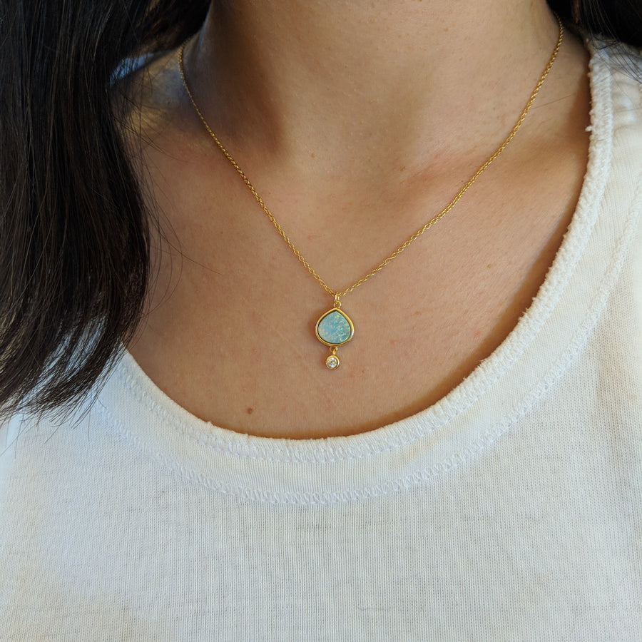 Best Friend - Green Opal Pear Necklace With Crystal Drop