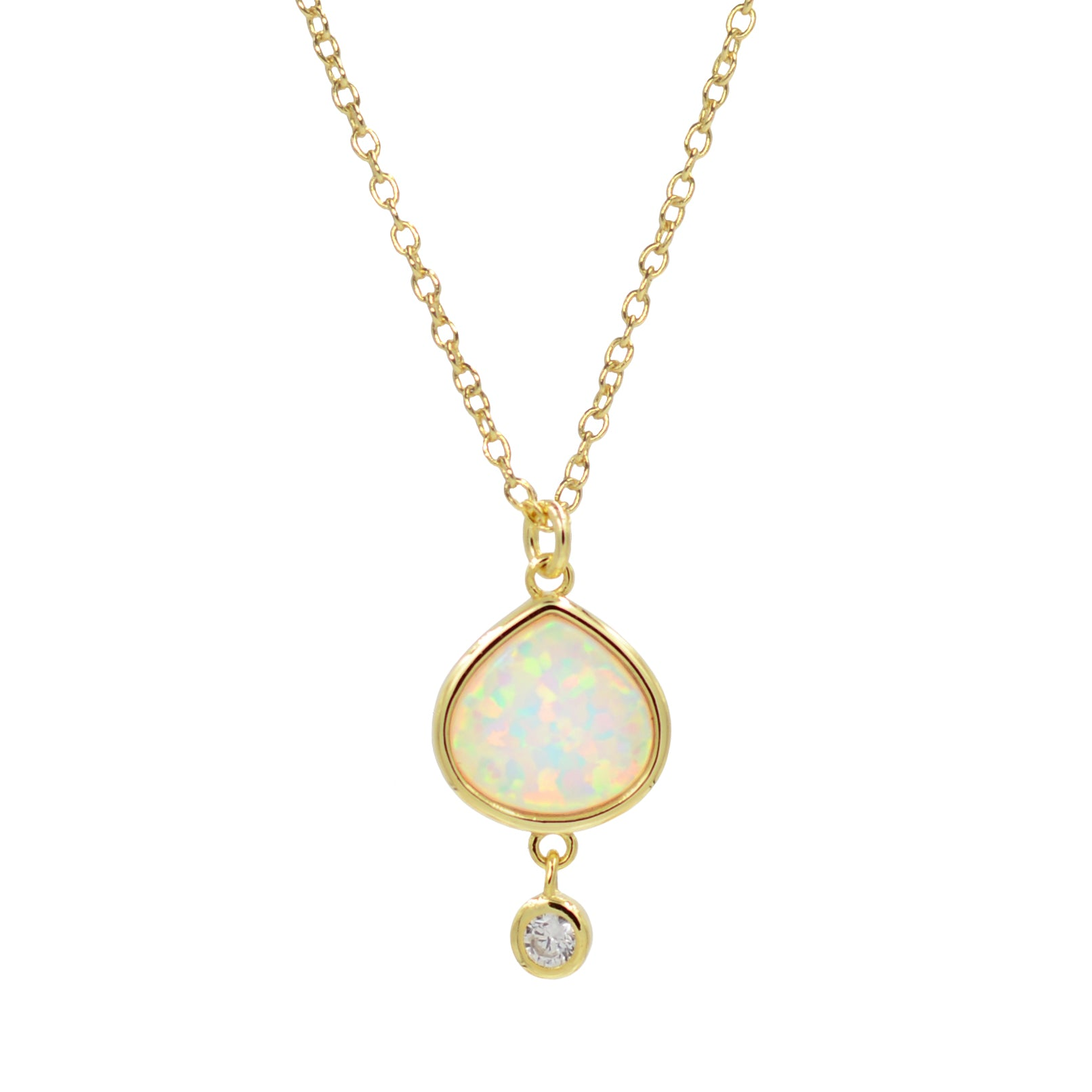 Best Friend white opal pear necklace with crystal drop