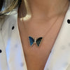 Black and Blue Tourmaline Butterfly Necklace With Diamonds Lifestyle