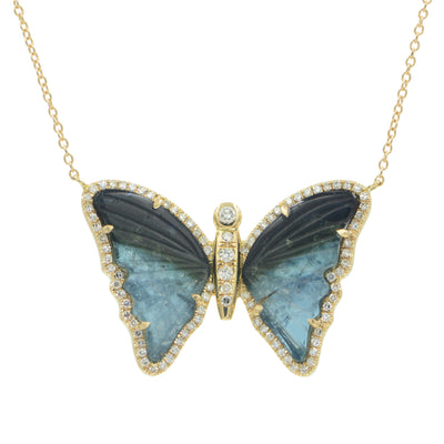 Black and Blue Tourmaline Butterfly Necklace With Diamonds