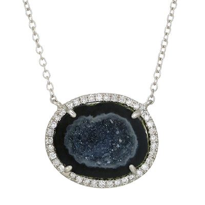 Black Baby Geode Necklace With Diamonds in White Gold Pendant