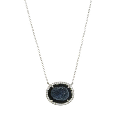 Black Baby Geode Necklace With Diamonds in White Gold