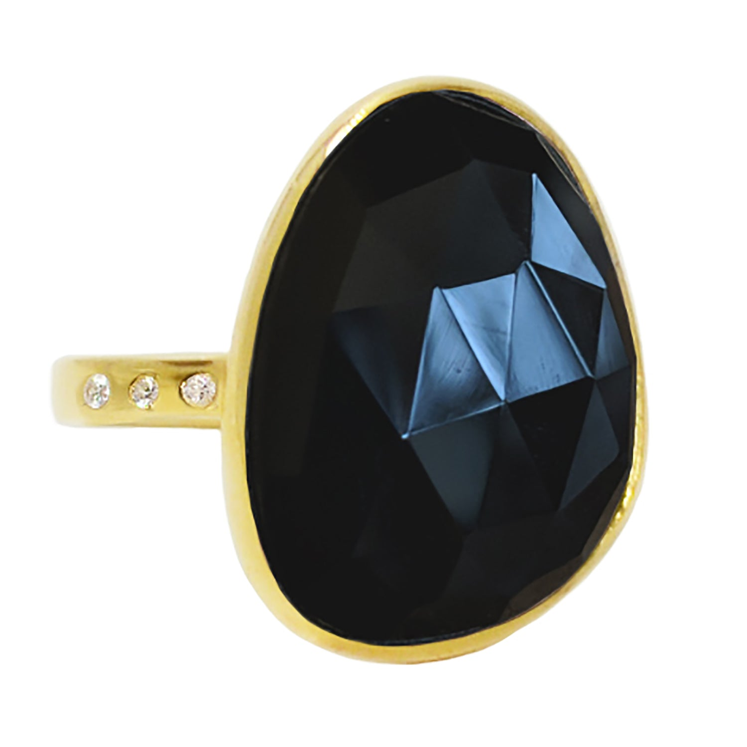 Black Spinel Large Gemstone Cocktail Ring in Yellow Gold With CZ