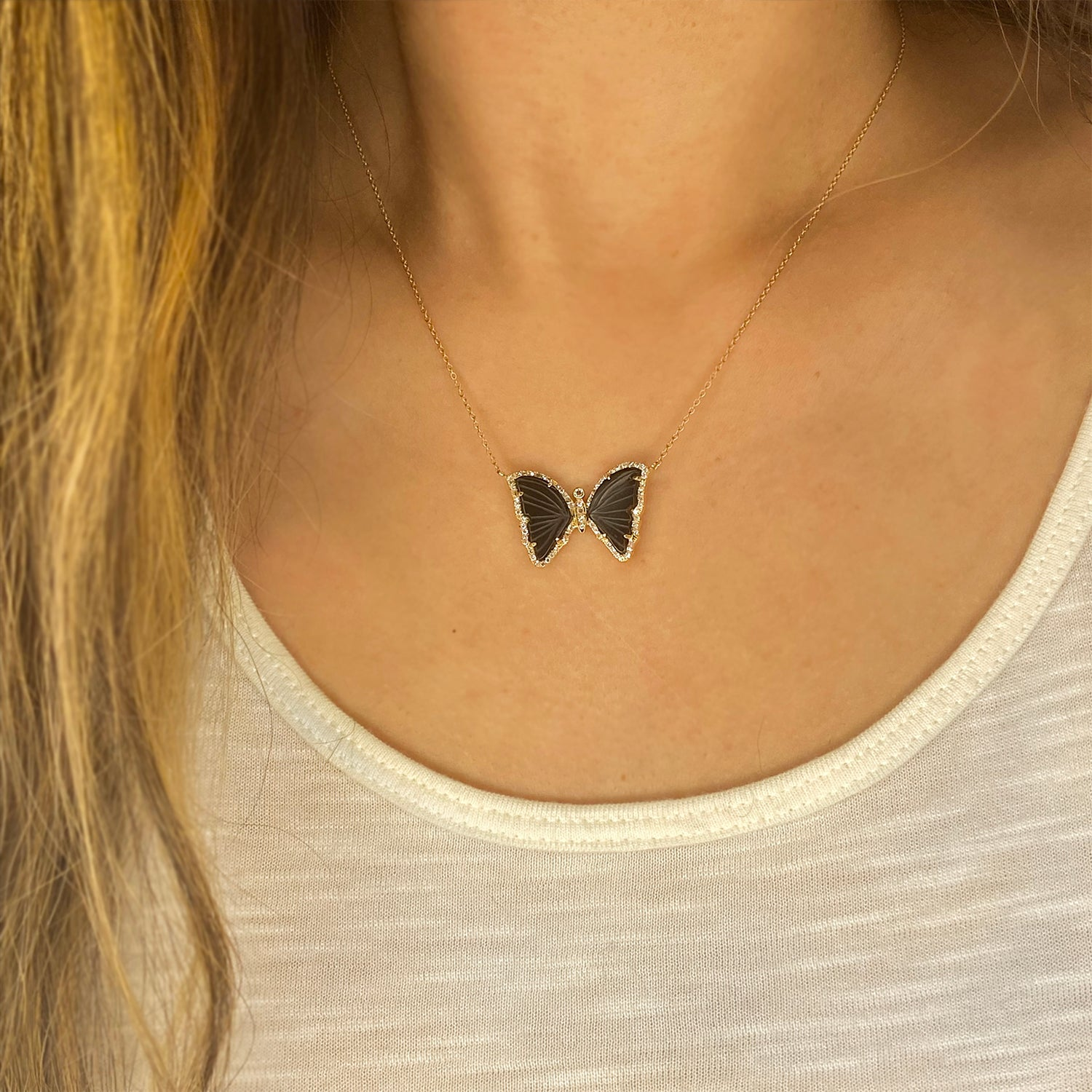 Black Tourmaline Butterfly Necklace With Diamonds