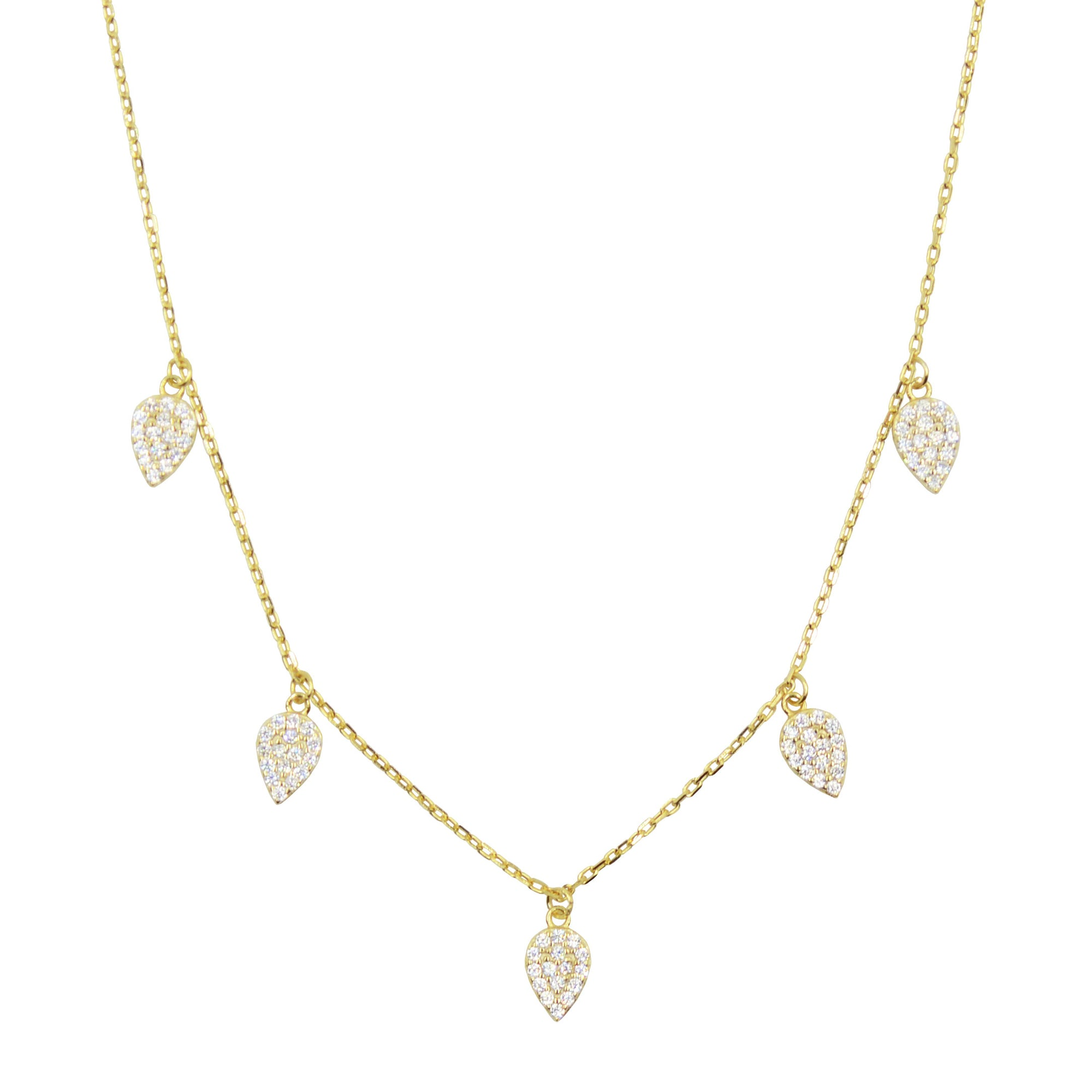 Blessings leaf choker necklace with crystals in yellow gold