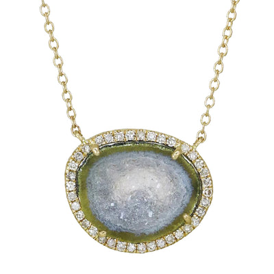 Blue Baby Geode Necklace With Diamonds in Gold Pendant