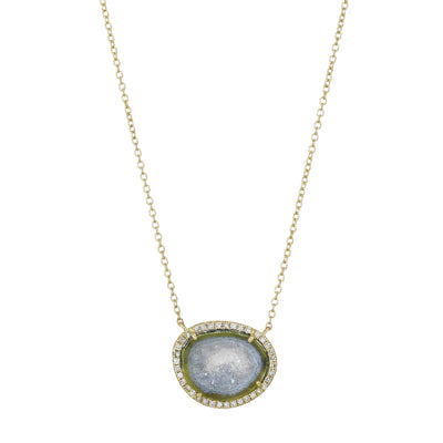 Blue Baby Geode Necklace With Diamonds in Gold