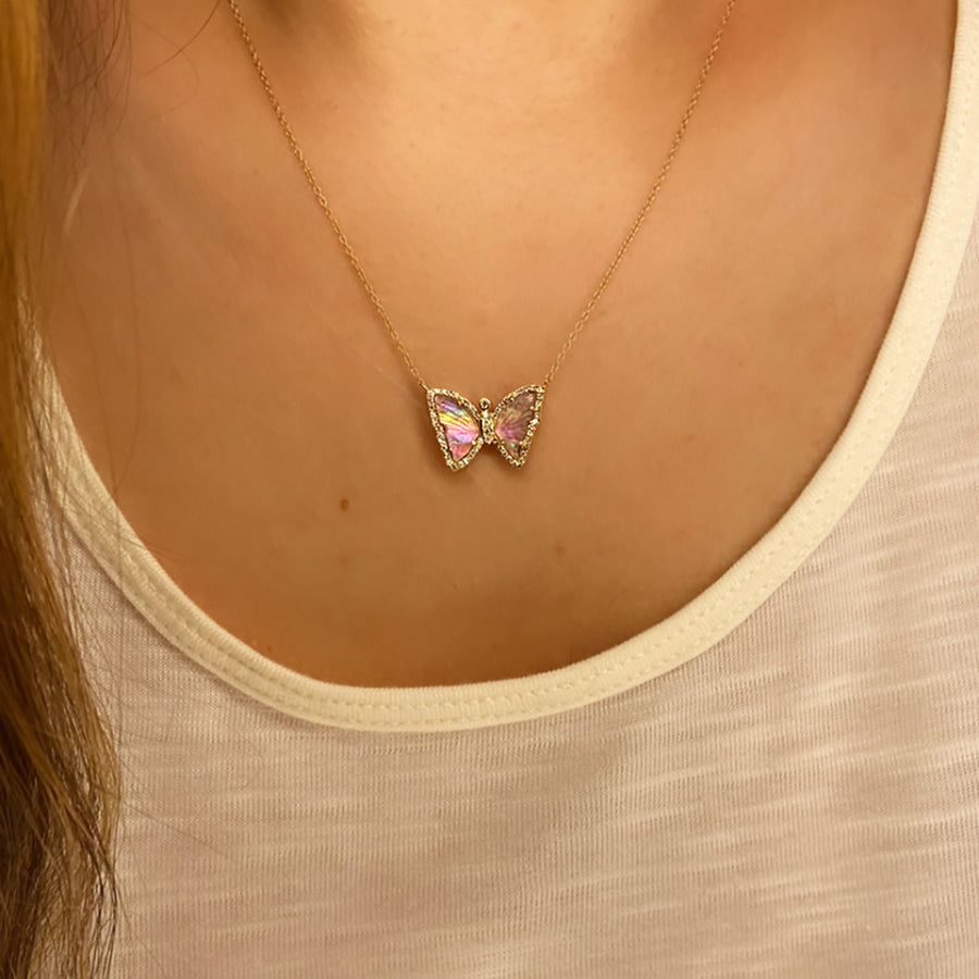 Blush Tourmaline Butterfly Necklace With Pearl and Diamonds