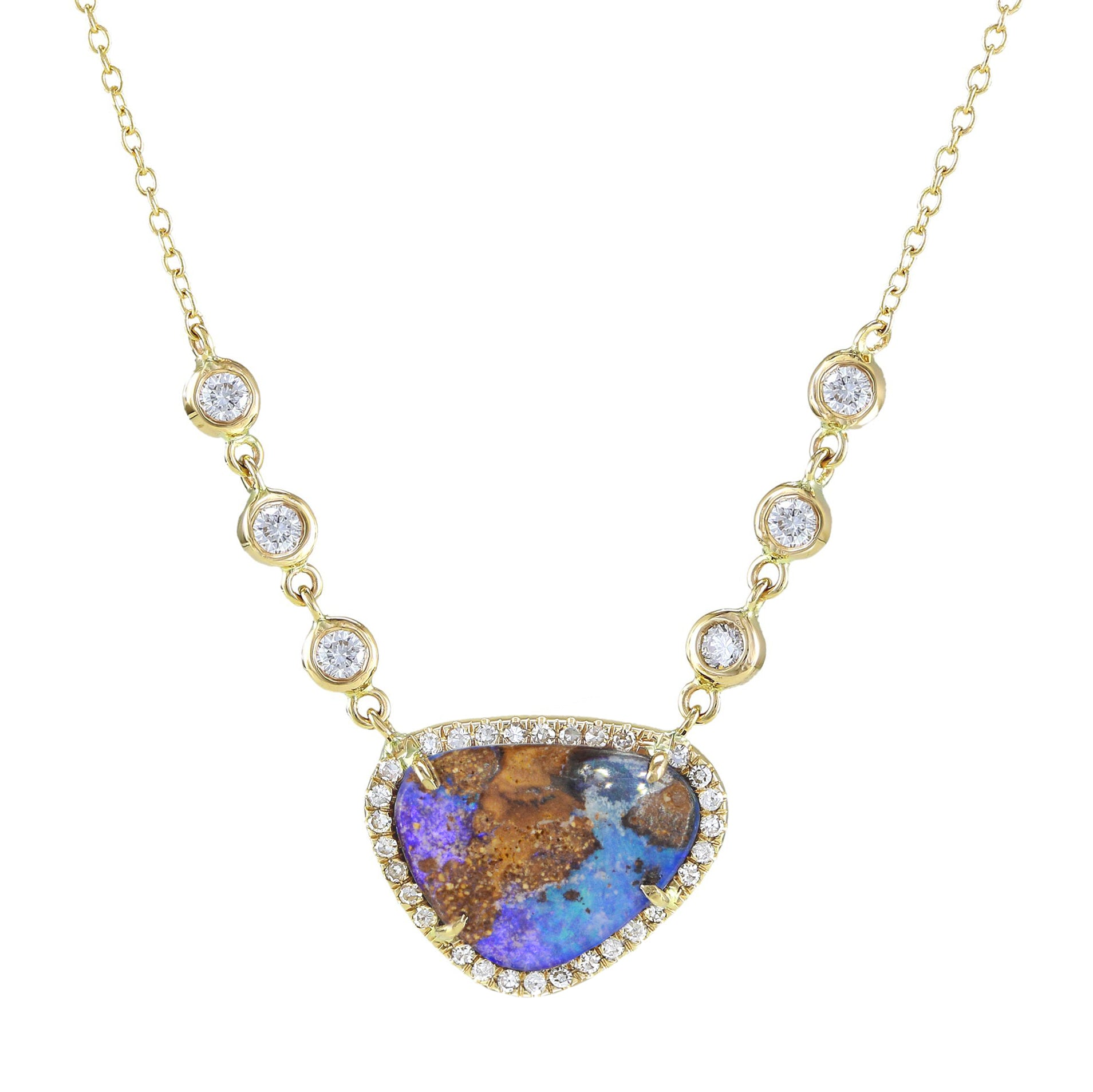Boulder Opal Necklace With Diamonds in 14k Gold