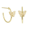 Butterfly Hoop Huggie Earrings With Diamonds in 14k Gold