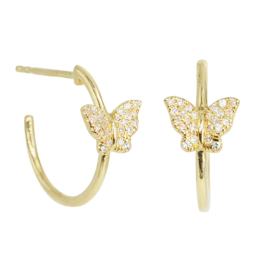 Butterfly Hoop Huggie Earrings With Diamonds