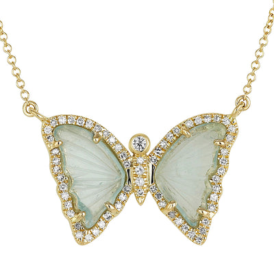 Butterfly Necklace With Blue Green Tourmaline and Diamonds in 14K Yellow Gold