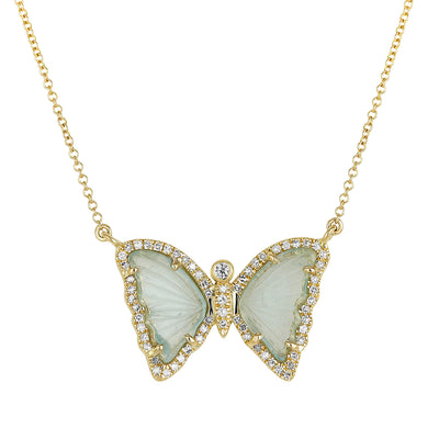 Butterfly Necklace With Blue Green Tourmaline and Diamonds