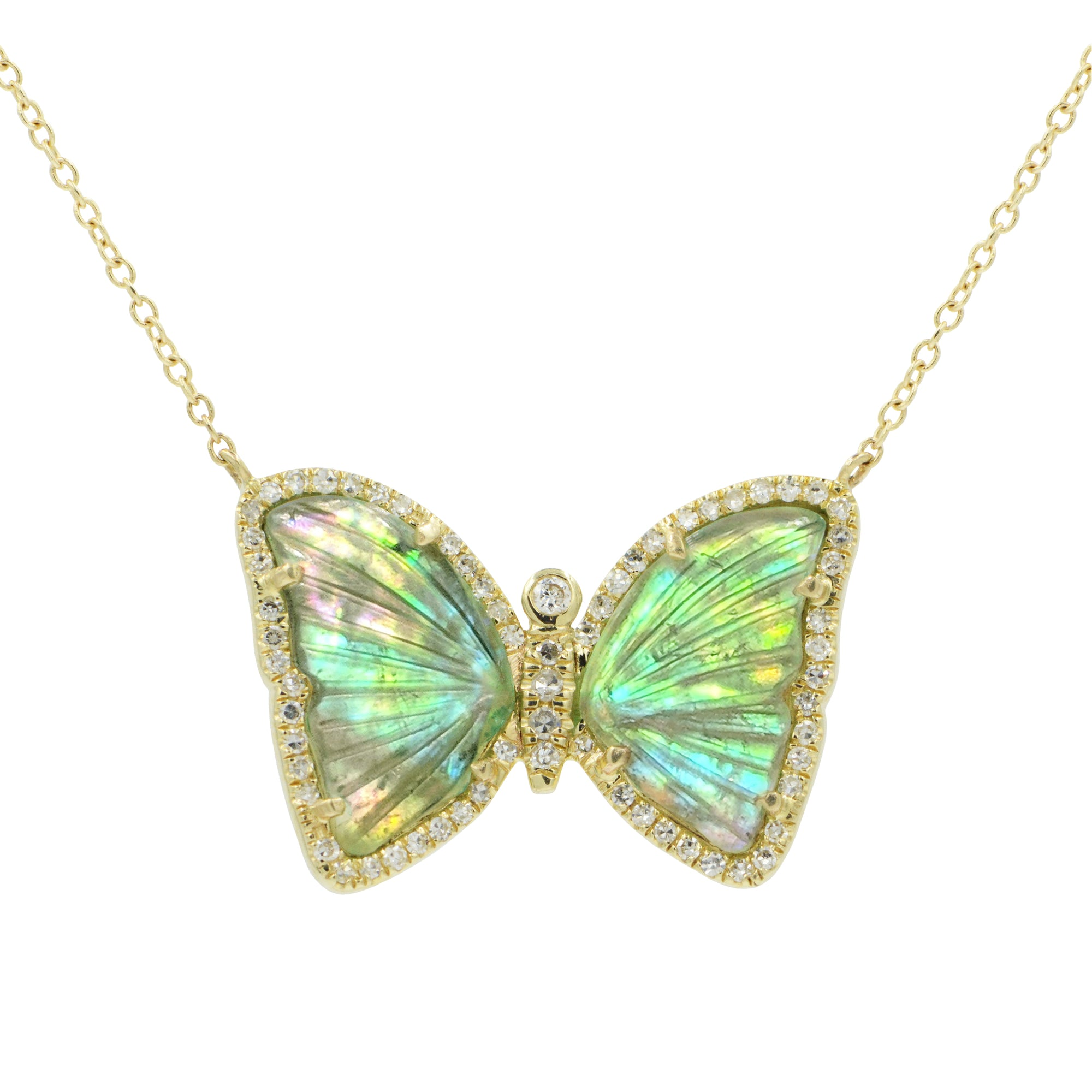 Butterfly Necklace With Green Tourmaline and Pearl
