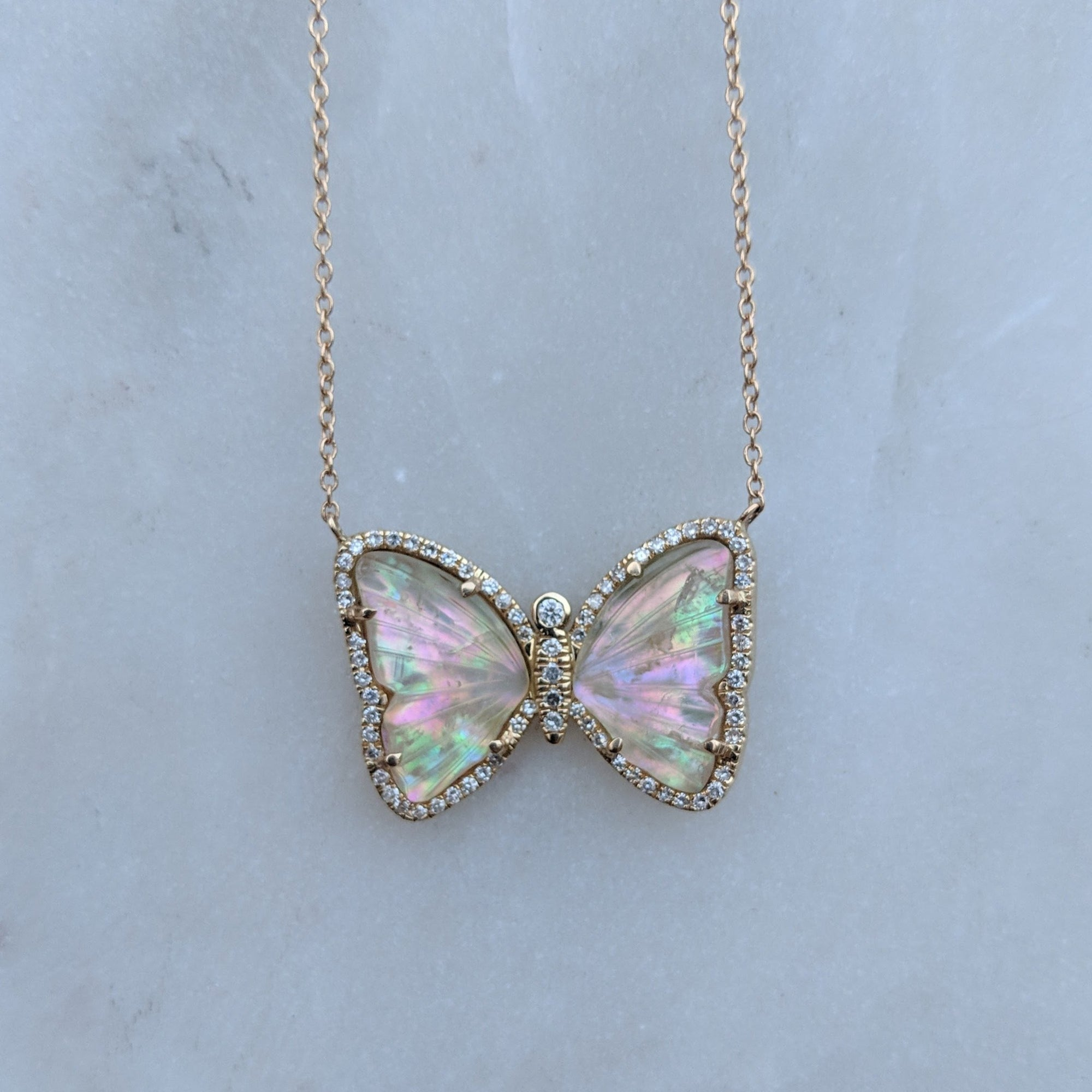 Butterfly Necklace With Tourmaline and Pearl