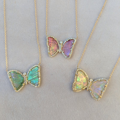 Butterfly Necklace With Tourmaline and Pearl Trio