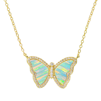 Butterfly Opal Necklace with Green Stripes in Gold