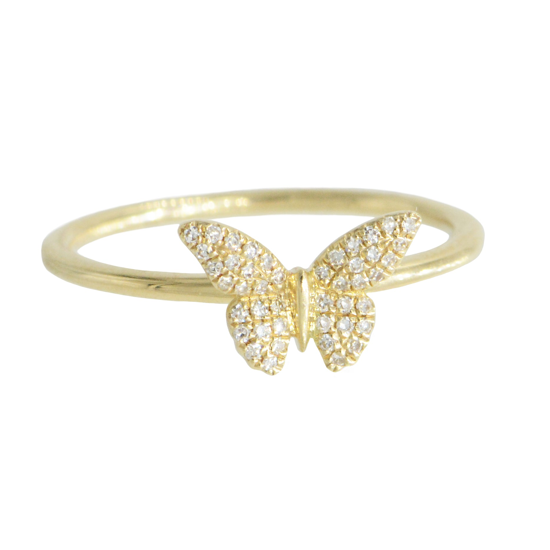 14k Gold Butterfly Ring With Diamonds