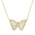 Butterfly Opal White With Stripes Necklace in Gold