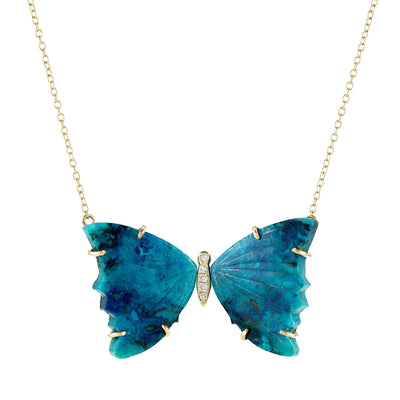 Chrysocolla Butterfly Necklace With Diamonds