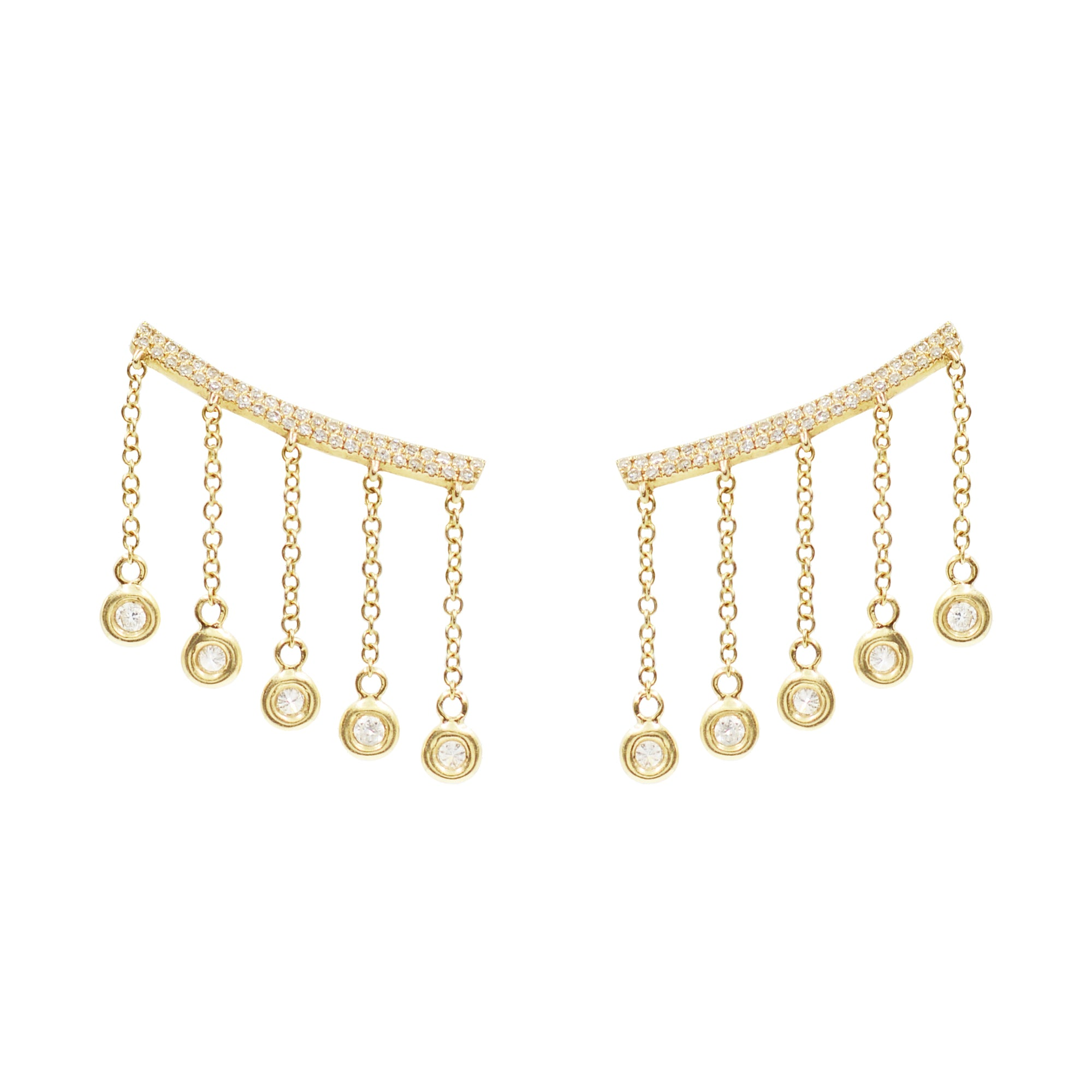 Cleo Ear Crawler Earrings With Crystal Drops in Gold