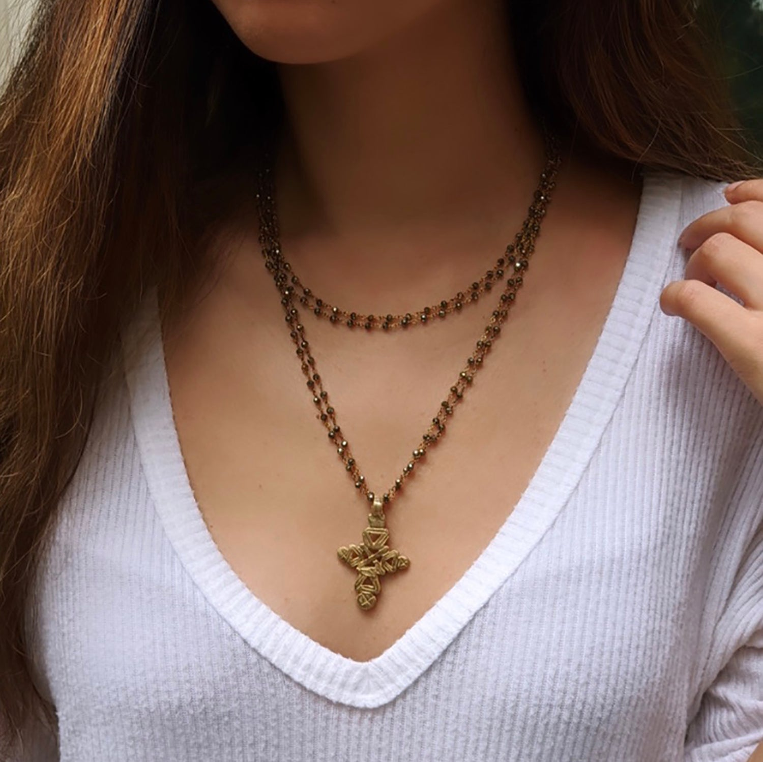 Double Pyrite Coptic Cross
