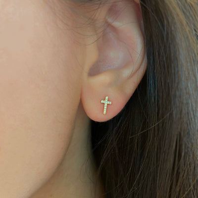 Cross Diamond Stud Earrings in 14k Gold Lifestyle
