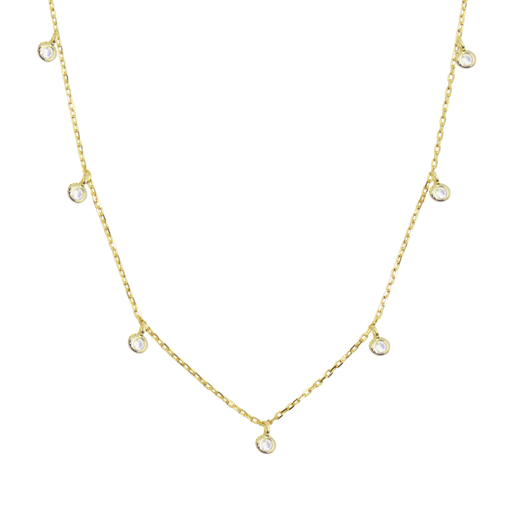Dew drops crystal choker layering necklace in yellow gold