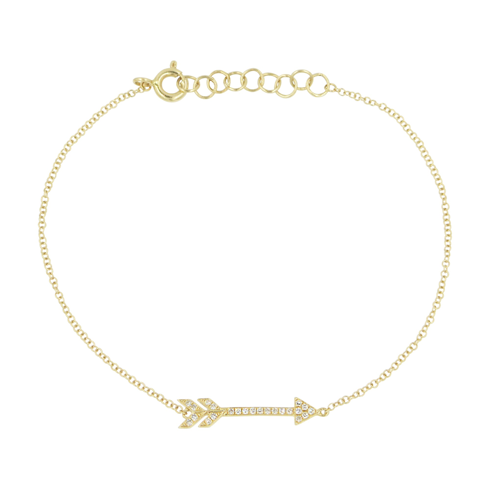 Diamond Arrow Bracelet in 14k Gold With Adjustable Clasp