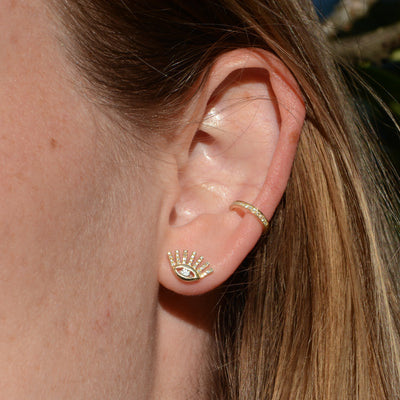 Diamond Evil Eye Stud Earrings With Lashes in 14k Gold Lifestyle