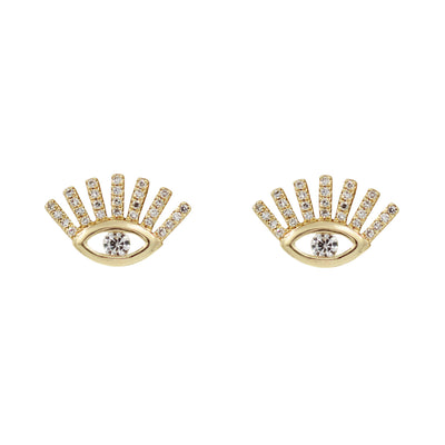 Diamond Evil Eye Stud Earrings With Lashes in 14k Gold