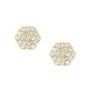 Diamond Hex Stud Earrings in 14k Yellow Gold