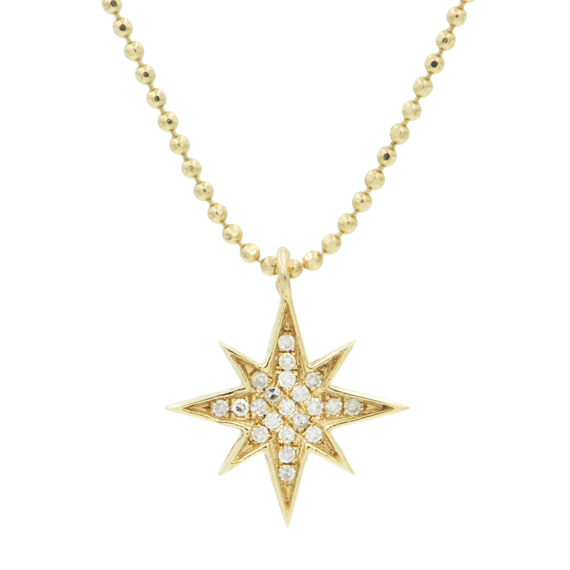 Diamond North Star Necklace in 14K Gold on Ball Chain