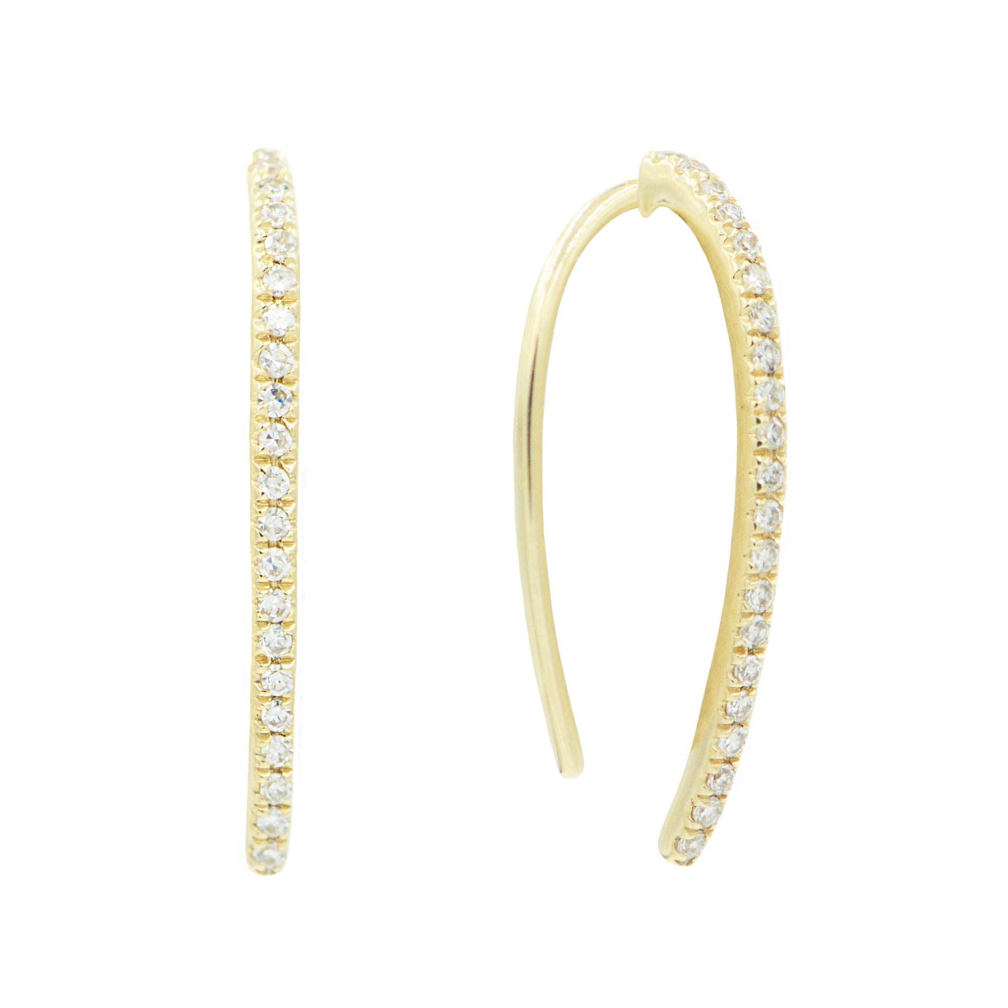 Diamond Open Loop Earrings in 14k Yellow Gold