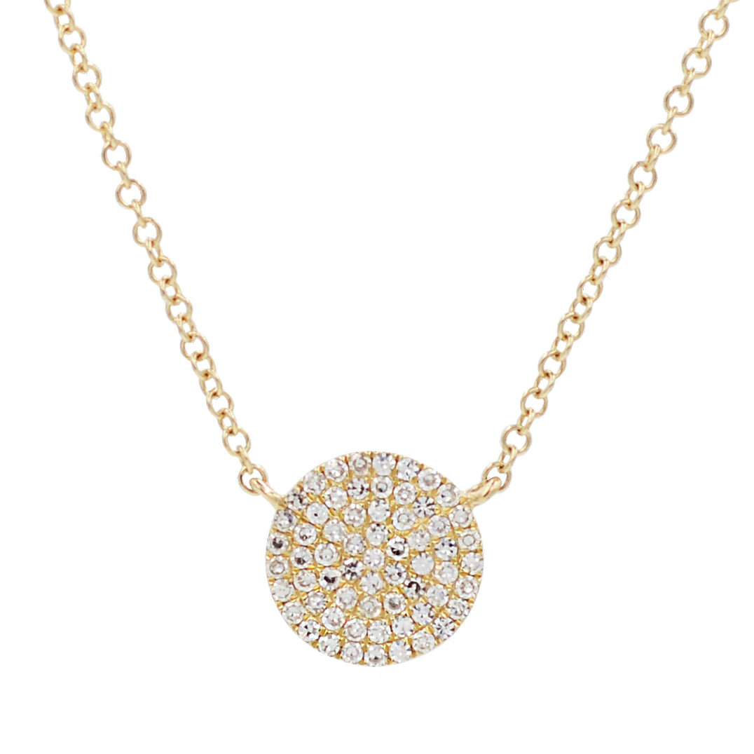 Diamond Pave Circle Disk Necklace in 14k Gold