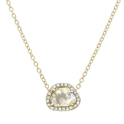 Mini Diamond Slice Necklace in 14k Gold