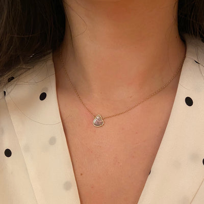 Diamond Slice Necklace in 14k Gold Trillion Lifestyle