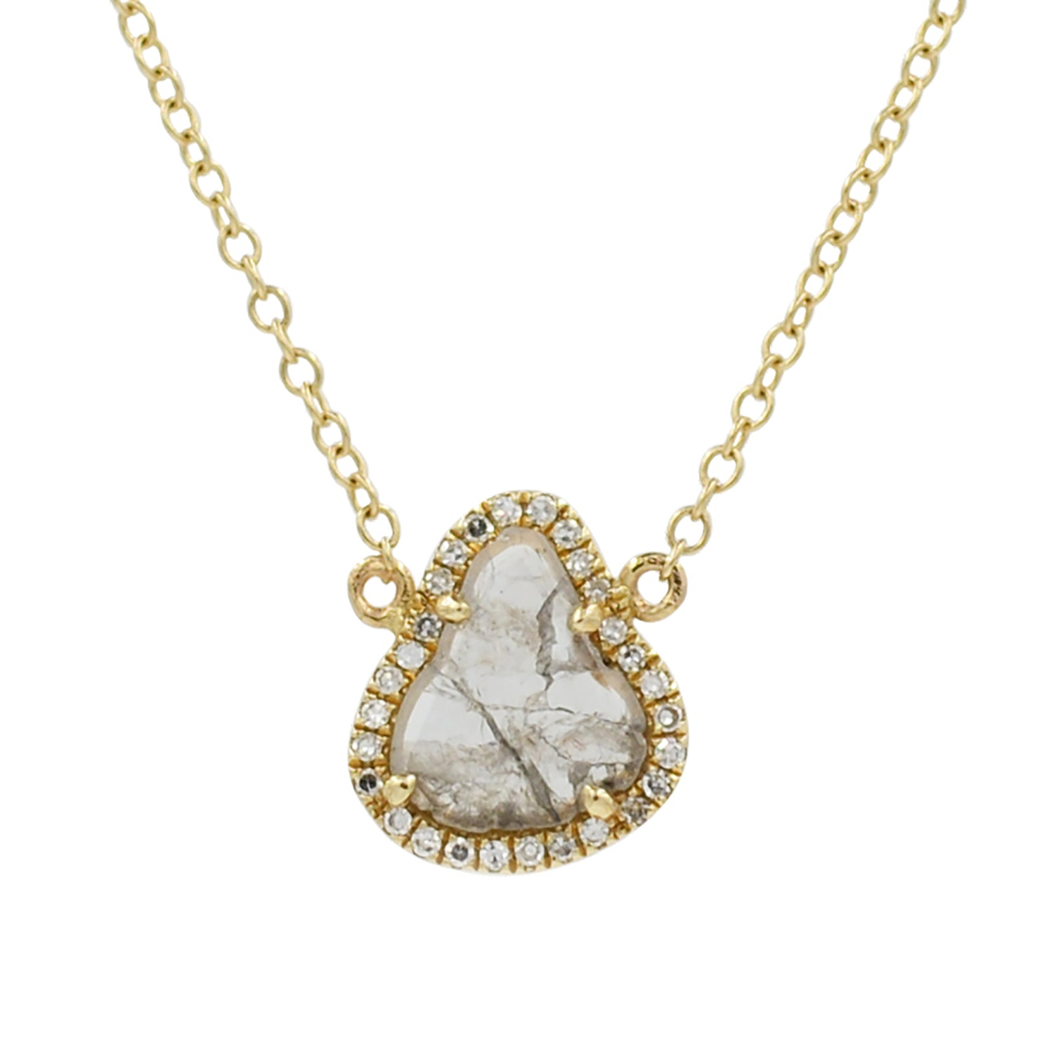 Diamond Slice Necklace in 14k Gold Trillion