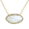 Diamond Slice Necklace in Yellow 14k Gold With Diamonds - Marquise