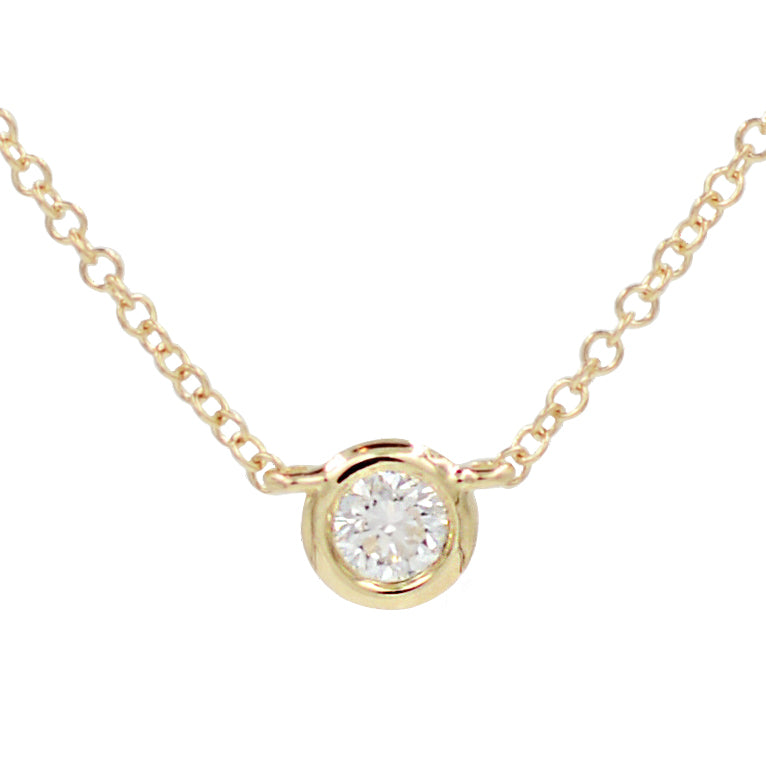 Diamond Solitaire Necklace in 14k Gold
