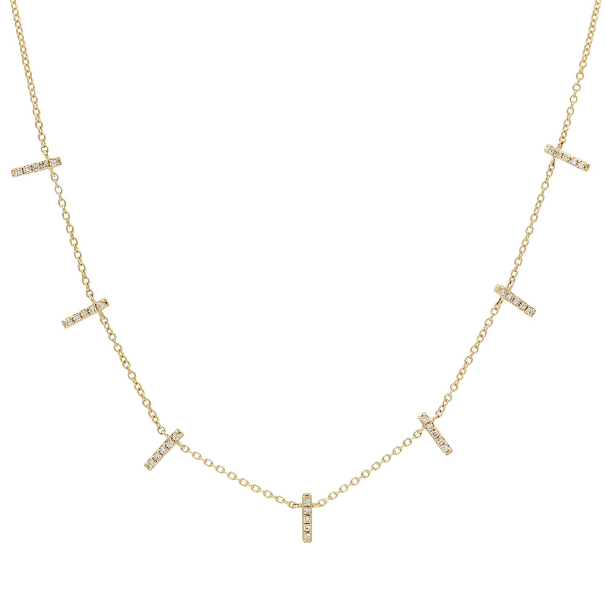 Diamond Stick Choker Necklace in 14k Gold