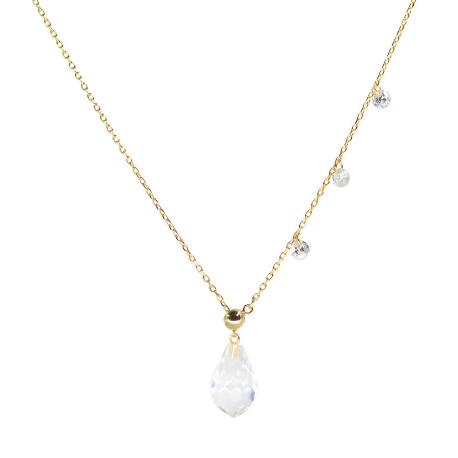double slider lariat necklace with crystal drop in yellow gold