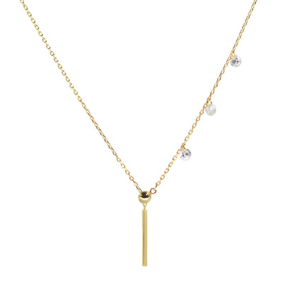 Double slider lariat necklace with mini bar in yellow gold pendant