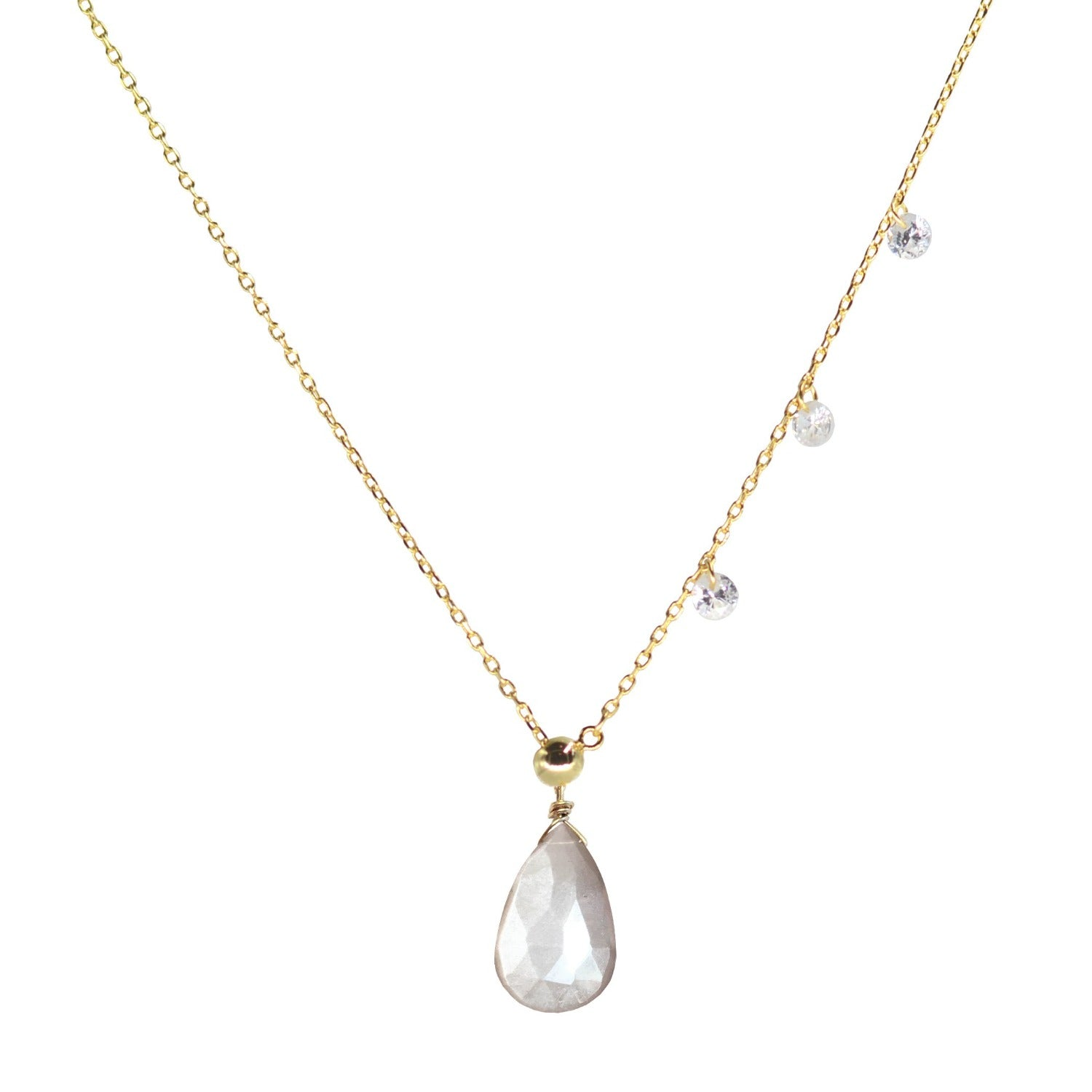 double slider lariat necklace with mystic grey moonstone drop