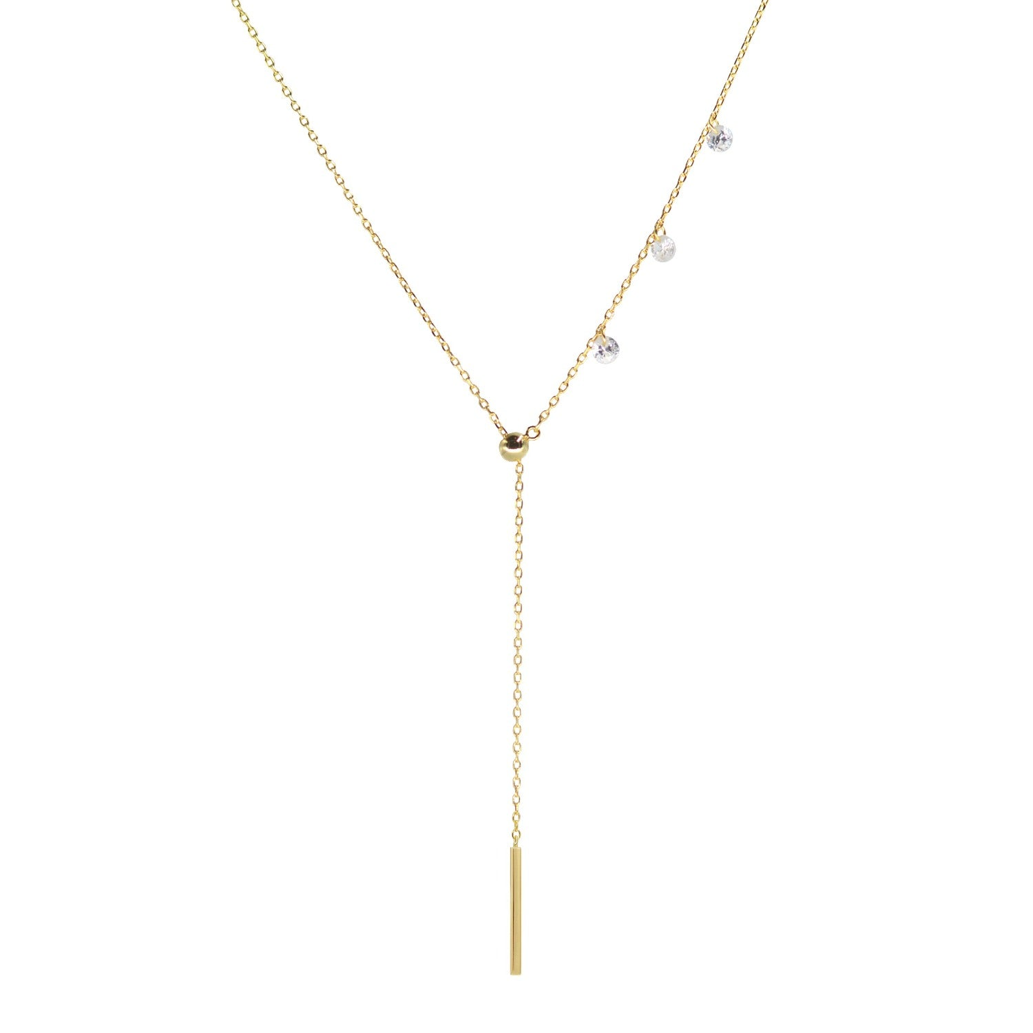 Double slider lariat necklace with mini bar in yellow gold